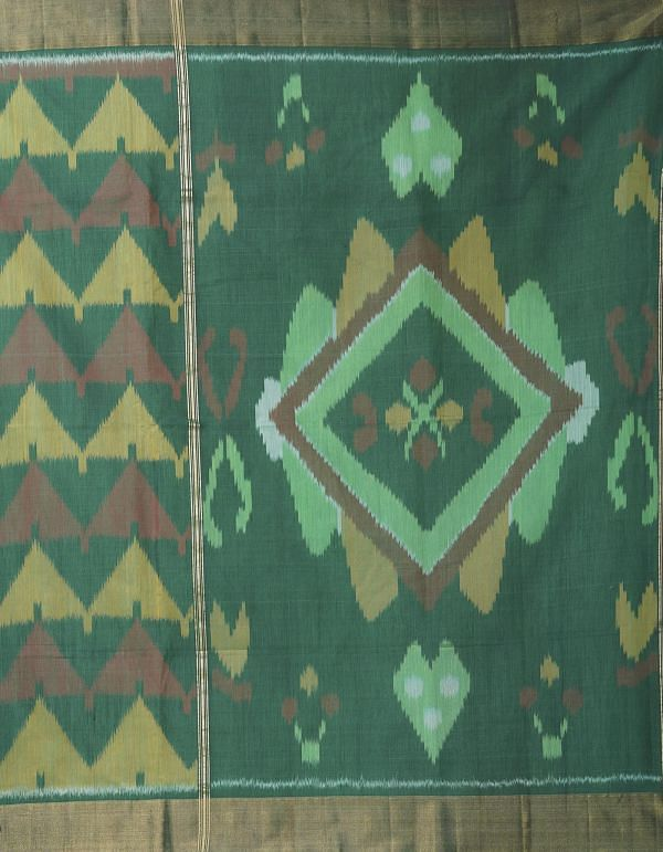 Online Shopping for Green Pure Handloom Pochampally Silk Cotton Saree with Ikat from Andhra Pradesh at Unnatisilks.comIndia