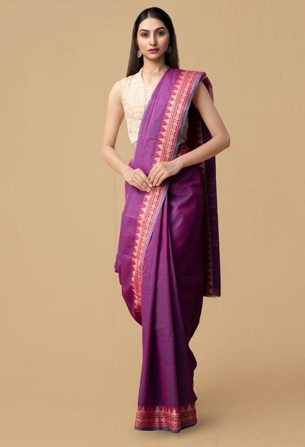 Online Shopping for Pink Pure Handcrafted Pavni Cotton Saree with Weaving from Andhra Pradesh at Unnatisilks.comIndia