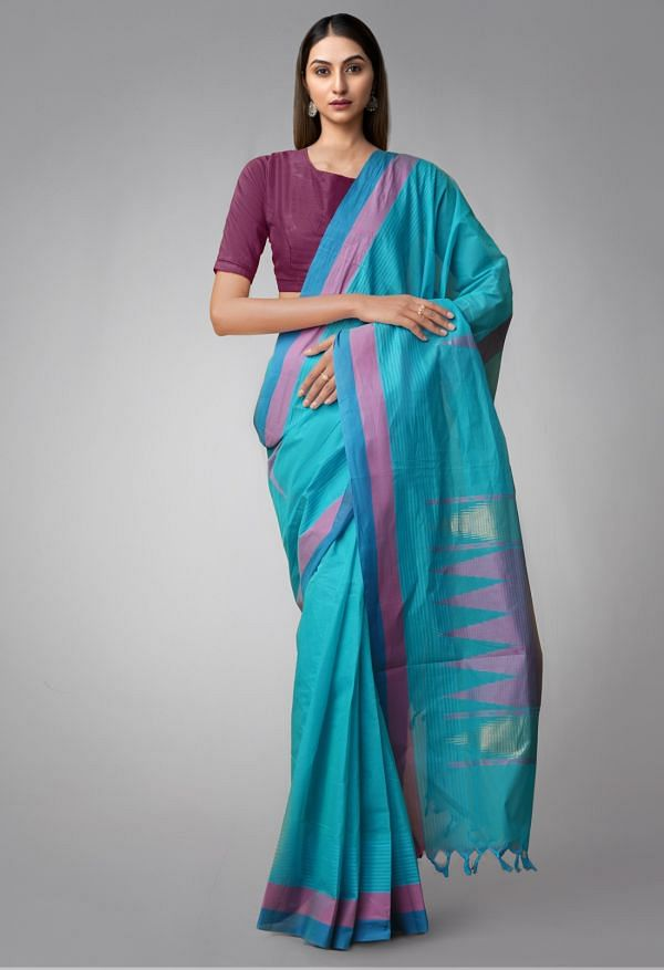 Online Shopping for Blue Pure Handloom Uppada Cotton Saree with Weaving from Andhra Pradesh at Unnatisilks.comIndia