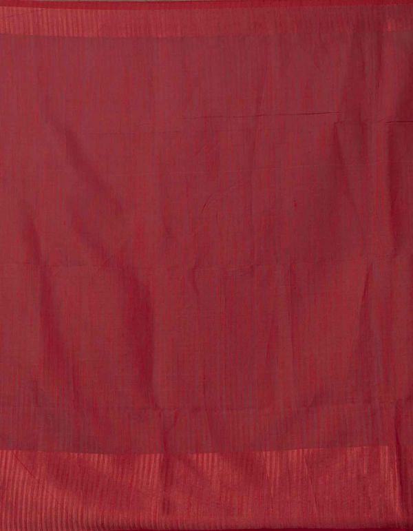 Orange Pure Handloom Linen  Saree