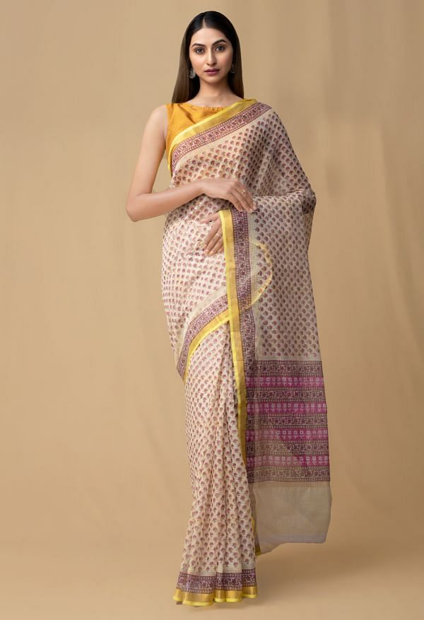 Online Shopping for Yellow Pure Kota with hand block prints Supernet Saree with Hand Block Prints from Rajasthan at Unnatisilks.comIndia