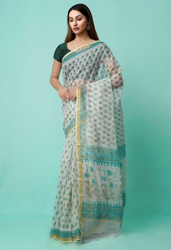 Online Shopping for Green Pure Kota with hand block prints Supernet Saree with Hand Block Prints from Rajasthan at Unnatisilks.comIndia