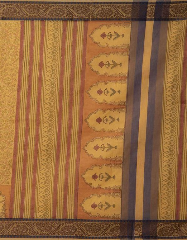 Online Shopping for Yellow Pure Supernet Supernet Saree with Hand Block Prints from Rajasthan at Unnatisilks.comIndia