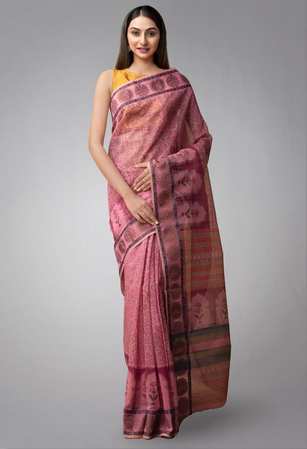 Online Shopping for Pink Pure Supernet Supernet Saree with Hand Block Prints from Rajasthan at Unnatisilks.comIndia