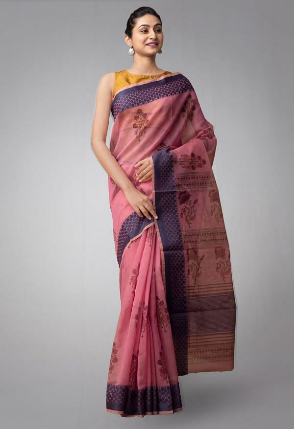 Online Shopping for Green Pure Chanderi Sico SareePink Pure Supernet Supernet Saree with Kalamkari Prints from Rajasthan at Unnatisilks.comIndia