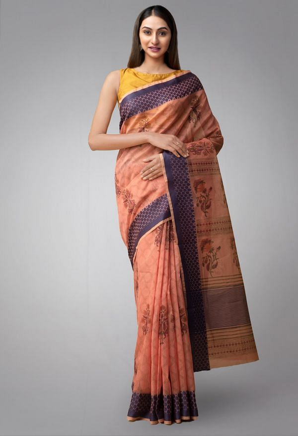 Online Shopping for Orange Pure Supernet Supernet Saree with Hand Block Prints from Rajasthan at Unnatisilks.comIndia
