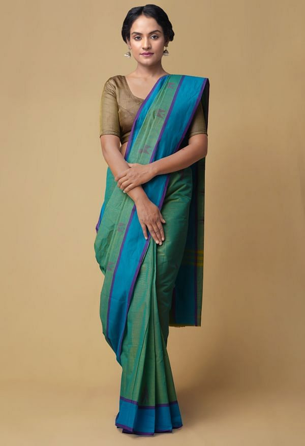 Green-Blue Pure Pavni Handcrafted Cotton Saree with Traditional Border