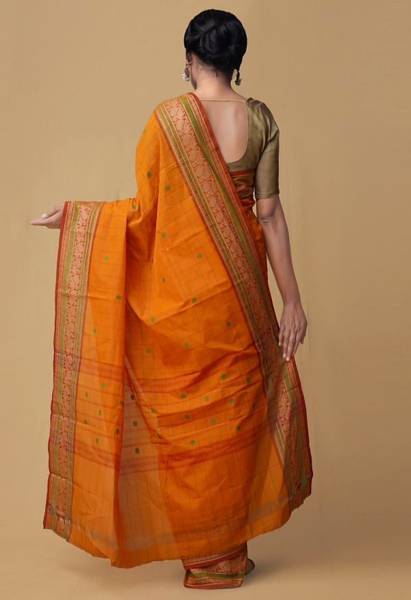 Orange Pure Pavni Handcrafted Cotton Saree with Traditional Border