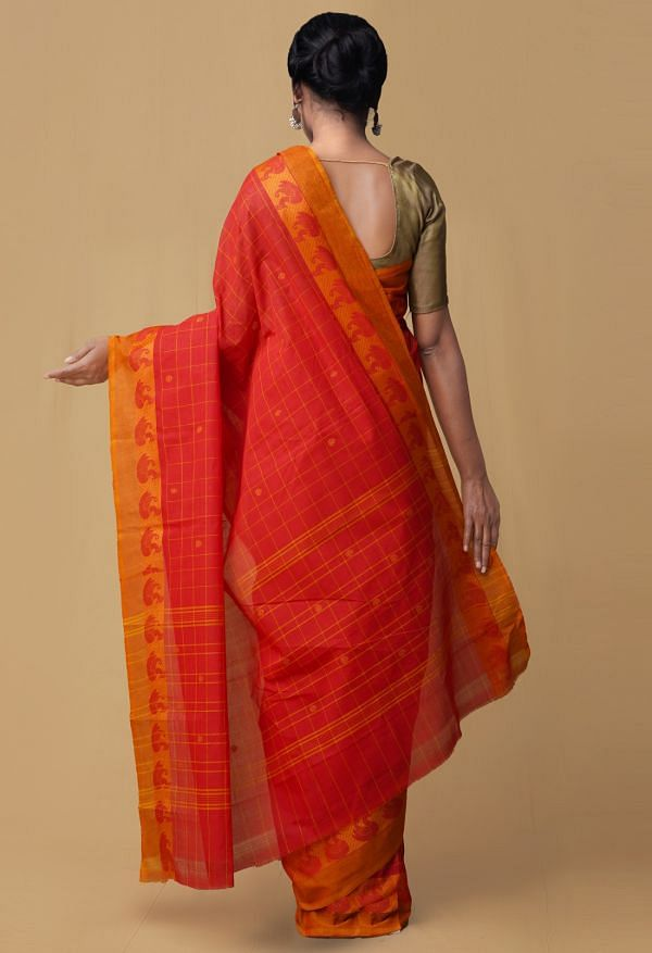 Red Pure Pavni Handcrafted Cotton Saree with Traditional Border