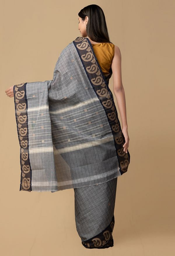 Grey Pure Pavni Handcrafted Cotton Saree with Traditional Border