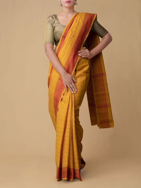 Yellow Pure Pavni Handcrafted Cotton Saree with Traditional Border
