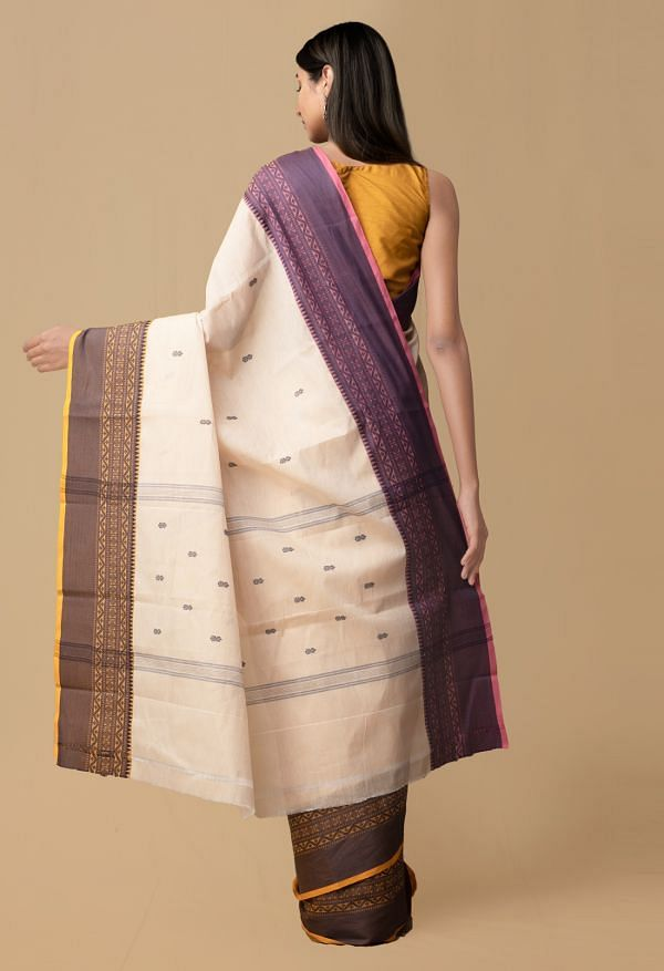 Cream Pure Pavni Handcrafted Cotton Saree with Traditional Border