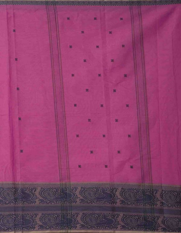 Pink Pure Pavni Handcrafted Cotton Saree with Traditional Border
