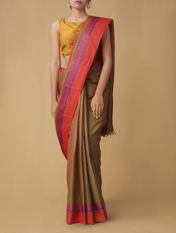 Green-Red Pure Pavni Handcrafted Cotton Saree