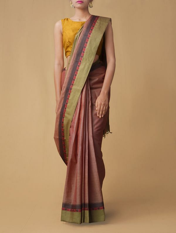 Red Pure Pavni Handcrafted Cotton Saree
