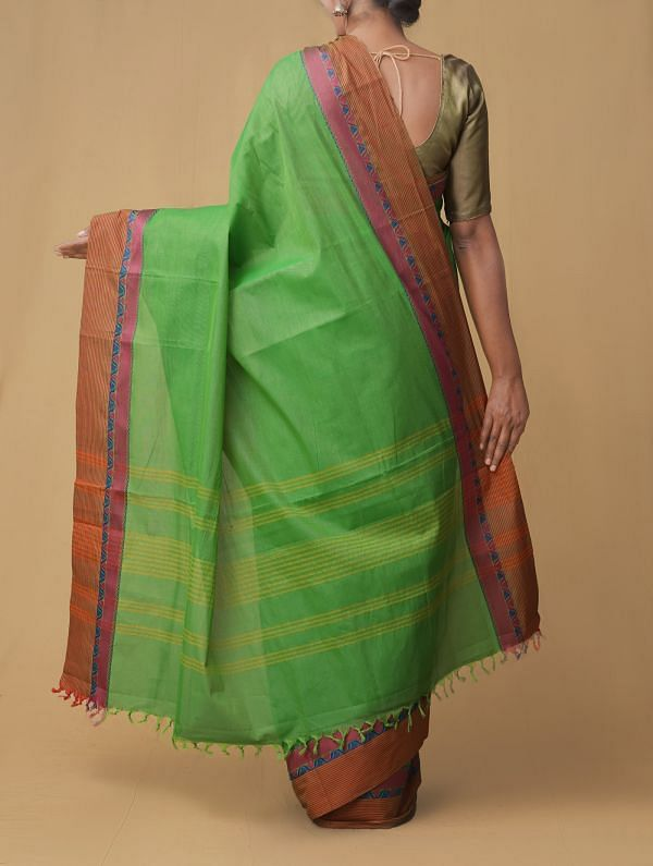 Green Pure Pavni Handcrafted Cotton Saree