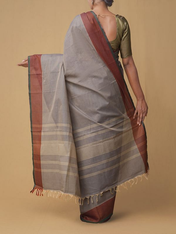 Grey Pure Pavni Handcrafted Cotton Saree