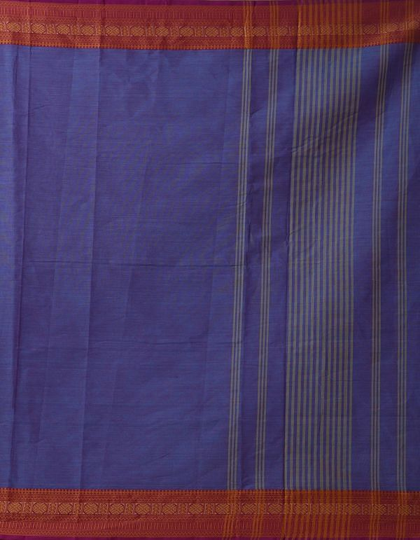 Blue-Pink Pure Pavni Handcrafted Cotton Saree