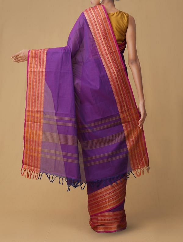 Purple Pure Pavni Handcrafted Cotton Saree with Traditional Border