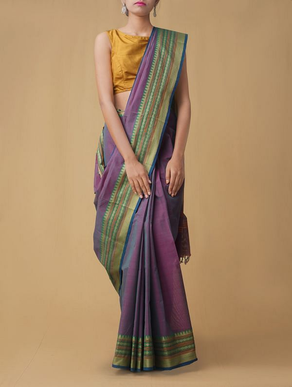 Pink-Green Pure Pavni Handcrafted Cotton Saree with Traditional Border