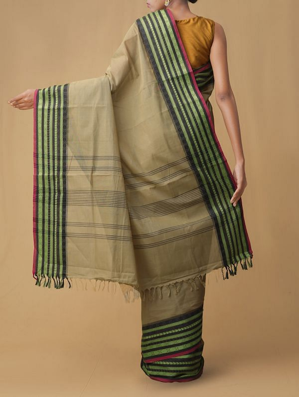 Brown Pure Pavni Handcrafted Cotton Saree with Traditional Border