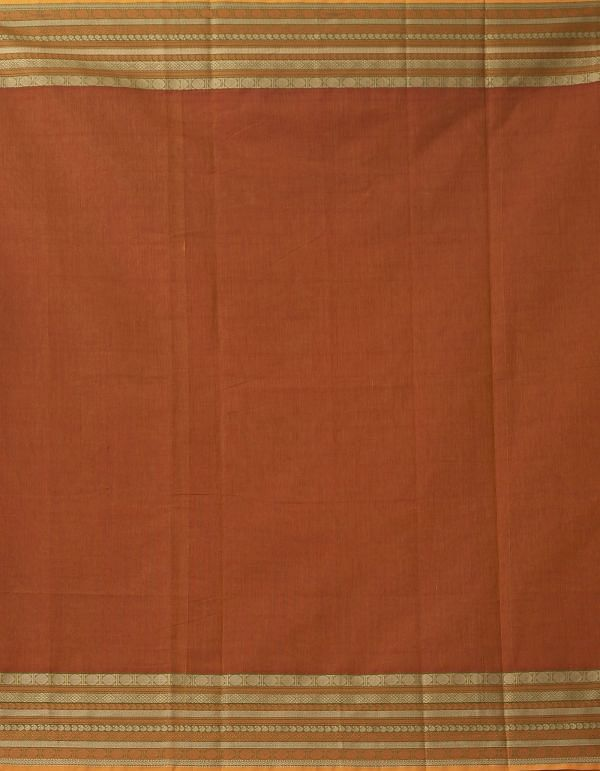 Rust Orange Pure Pavni Handcrafted Cotton Saree with Traditional Border
