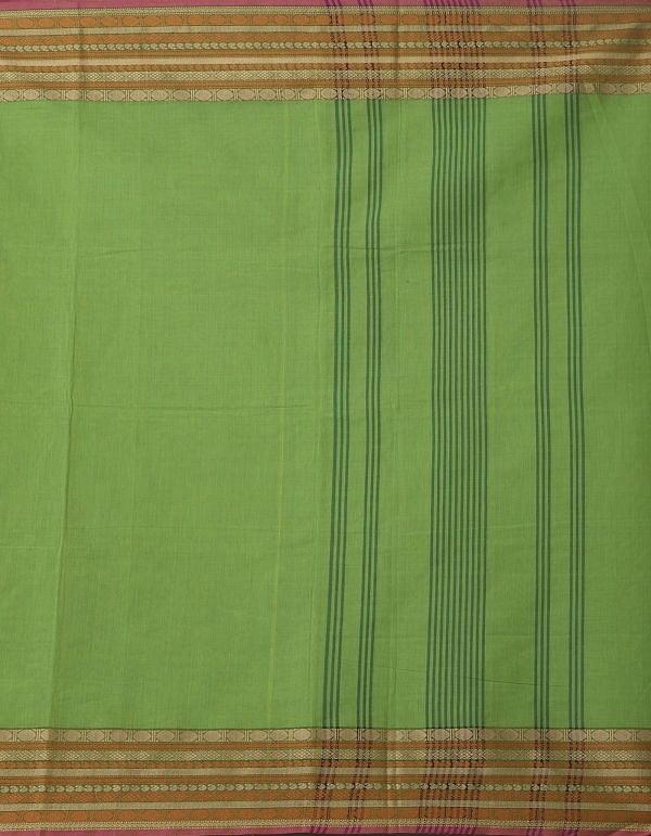 Green Pure Pavni Handcrafted Cotton Saree with Traditional Border
