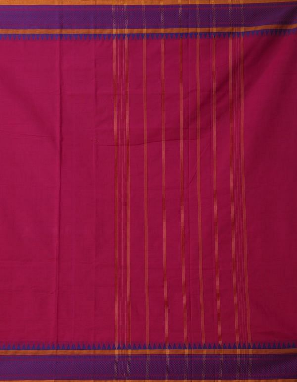 Pink Pure Pavni Handcrafted Cotton Saree with Temple Border