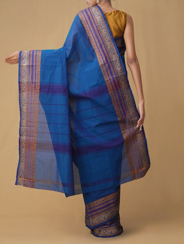 Blue Pure Pavni Handcrafted Cotton Saree with Traditional Border