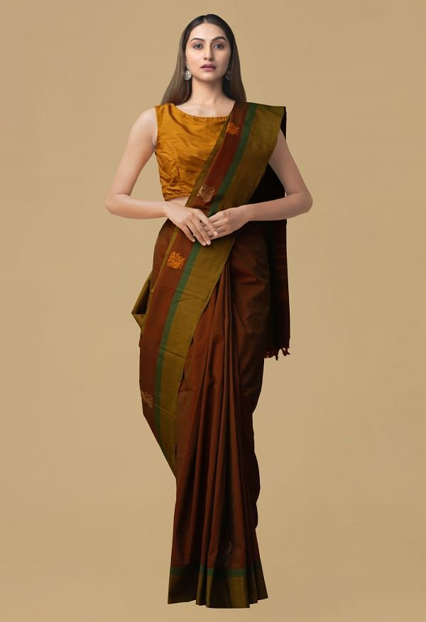 Maroon Pure Pavni Handcrafted Cotton Saree