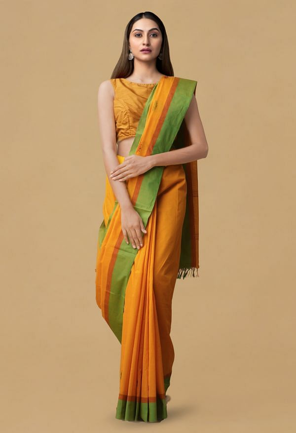 Yellow Pure Pavni Handcrafted Cotton Saree