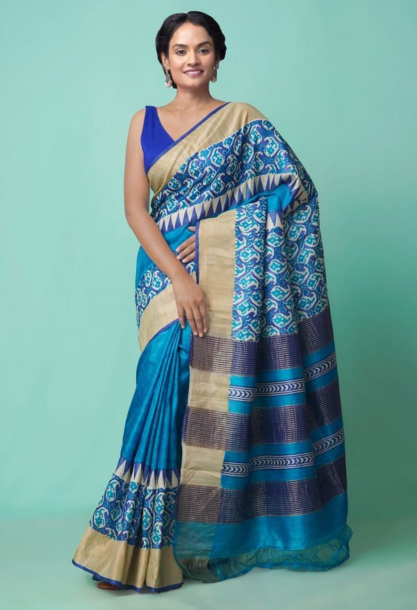 Online Shopping for Blue Pure Handloom Bengal Tussar Silk Saree with Weaving from Tamil Nadu at Unnatisilks.comIndia