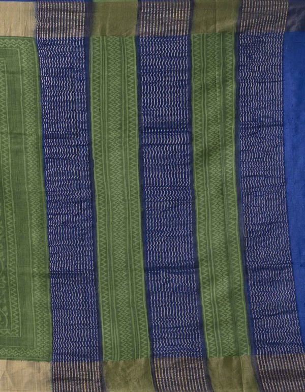 Online Shopping for Green-Blue Pure Handloom Bengal Tussar Silk Saree with Hand Block Prints from West Bengal at Unnatisilks.comIndia