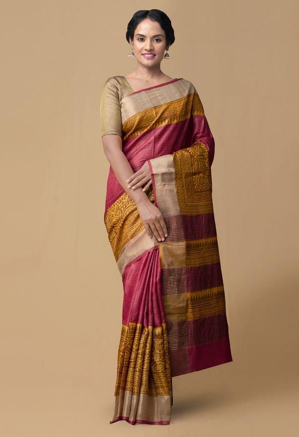 Online Shopping for Red Pure Handloom Bengal Tussar Silk Saree with Weaving from Tamil Nadu at Unnatisilks.comIndia