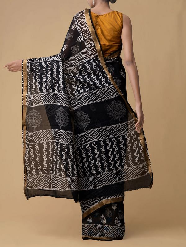 Black Pure Hand Block Printed Mulmul Cotton Saree