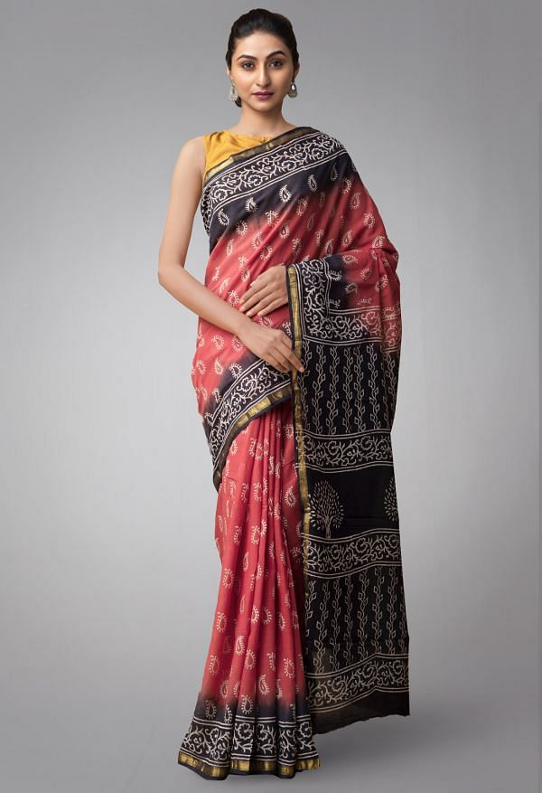 Online Shopping for Red Pure Hand Block Printed Mulmul Cotton Saree with Batik Prints from Rajasthan at Unnatisilks.comIndia
