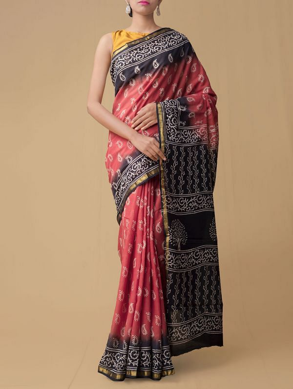 Red Pure Hand Block Printed Mulmul Cotton Saree