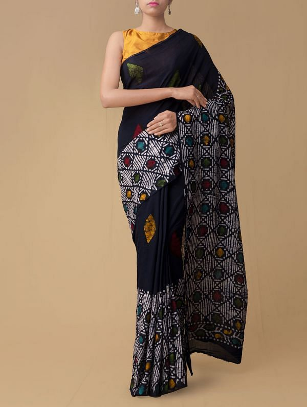 Indigo Blue Pure Batik Cotton Saree