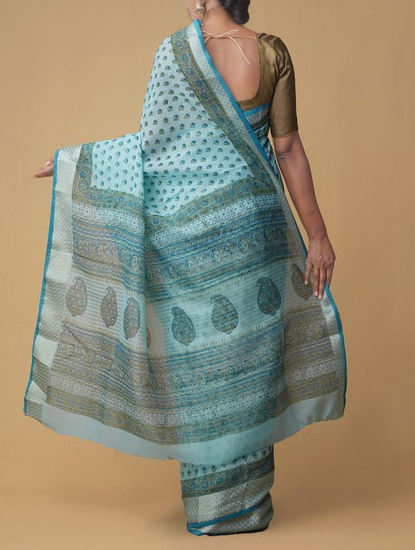 Turquoise Blue Pure Vrinda Linen Saree with Shantanu Block Prints