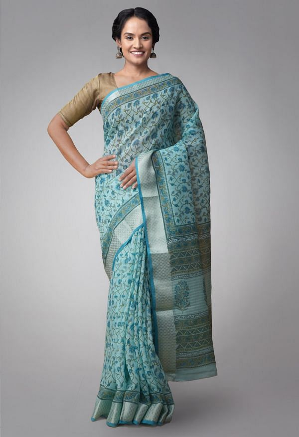 Online Shopping for Turquoise Blue Pure Avnee Linen Saree with Shantanu Block Prints with Hand Block Prints from Chhattisgarh at Unnatisilks.comIndia