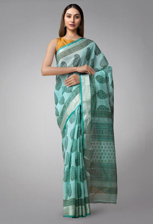 Online Shopping for Blue Pure Vrinda Linen Saree with Shantanu Block Prints with Weaving from Tamil Nadu at Unnatisilks.comIndia