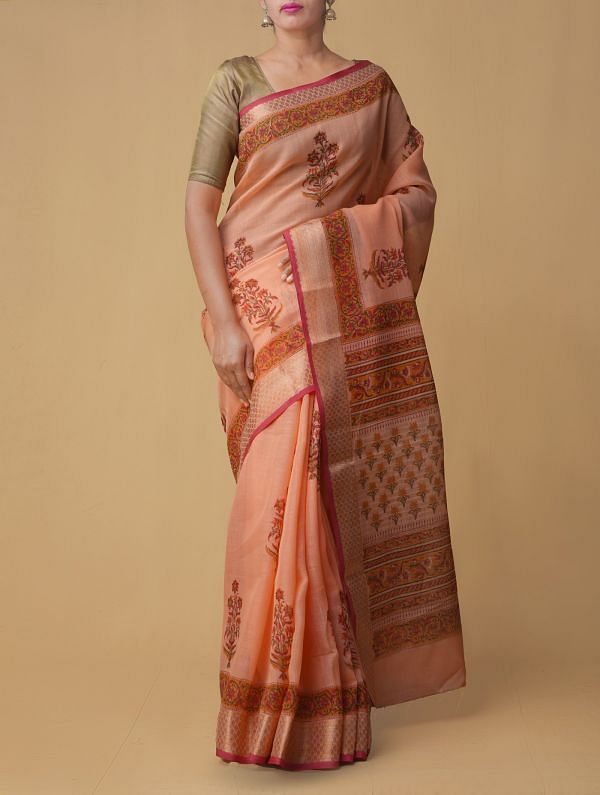 Peach Orange Pure Vrinda Linen Saree with Shantanu Block Prints