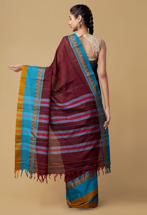 Maroon Pure Handloom Narayanpet Cotton Saree