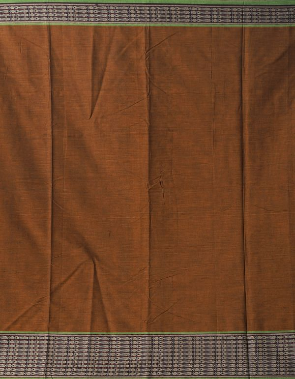 Rust Orange Pure Handloom Narayanpet Cotton Saree