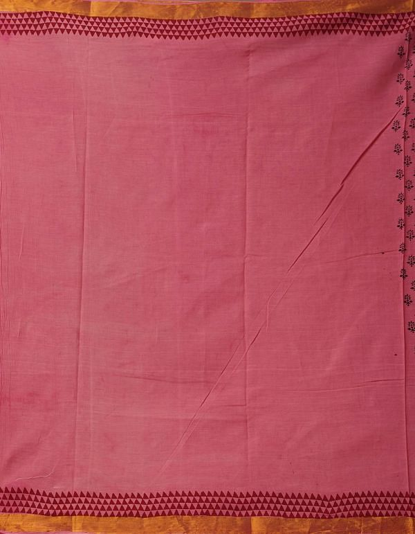 Online Shopping for Orange-Pink Pure Mulmul Cotton Saree with Hand Block Prints from Madhya Pradesh at Unnatisilks.comIndia