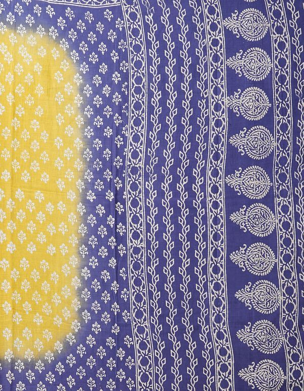 Yellow Pure Hand Block Printed Mulmul Cotton Saree