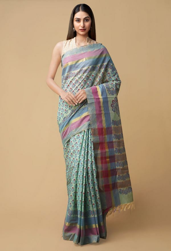 Online Shopping for Turquoise Blue Pure Vrinda Mangalagiri Cotton Saree with Hand Block Prints from Andhra Pradesh at Unnatisilks.comIndia