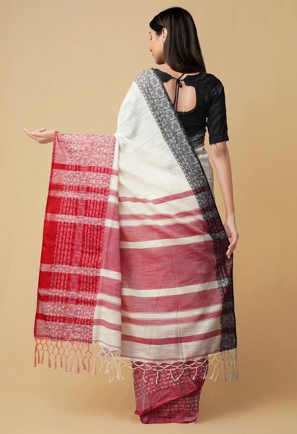 Cream Pure Linen Saree