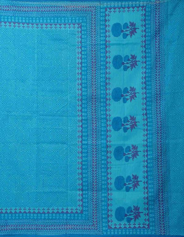 Online Shopping for Blue  Hand Block Printed  Supernet Saree with Weaving from Rajasthan at Unnatisilks.comIndia