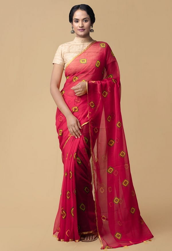Online Shopping for Red Pure Tie and Dye Bandhani Chiffon  Saree with Bandhani from Rajasthan at Unnatisilks.comIndia